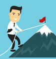 businessman climbing mountain peak vector image