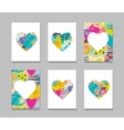 Hand drawn painted colorful heart icons vector image