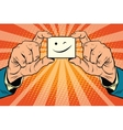 wink Smiley face in hands vector image