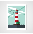 Poster with red beacon on island vector image
