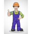 The worker raised his thumb up vector image