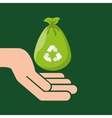 plastic bag recycled hand hold icon vector image