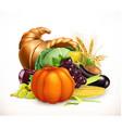 Horn of plenty Harvest fruits and vegetables vector image vector image