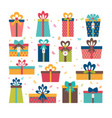 set of different gift boxes flat design birthday vector image