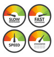 round speedometers set with slow and fast speed vector image