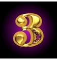 golden letter 3 vector image vector image