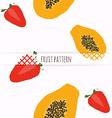 Hand drawn strawberries and papaya Seamless vector image