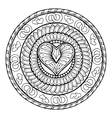 Circle tribal doodle ornament with love heart vector image