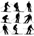 Set mountain skier speeding down slope vector image vector image