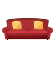 A red sofa and yellow cushions vector image