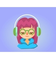 Cute happy girl with glasses listens to music vector image