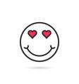 enamored thin line emoji icon with shadow vector image