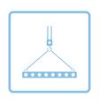 Icon of slab hanged on crane hook by rope slings vector image