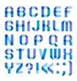Spectral letters folded of paper ribbon-blue vector image