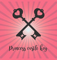 vintage crossed keys on pink background vector image
