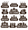 set logo of coffee tea dessert juice ice cream vector image vector image