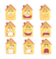 funny cartoon humanized house with with many vector image