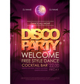 Typography Disco background Disco party poster vector image vector image