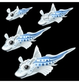 Four tropical white fish on a black background vector image