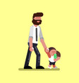 girl with father walking vector image