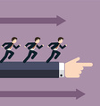 Group of businessman running in the same direction vector image