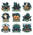 Halloween Colored Emblems vector image