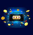 jackpot lucky wins golden slot machine casino on vector image