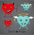 red devil and cute angel vector image