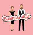 beautiful couple in business style clothing vector image