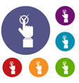 Hand finger pressing button with tick icons set vector image