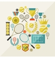 Sports background with tennis icons in flat design vector image