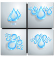 Blue shiny water drops vector image
