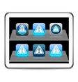 Exclamation sign blue app icons vector image