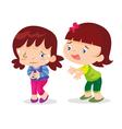Cute girl stomachache vector image