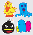 Cute monster stickers vector image