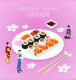 isometric national cuisine japan with sushi vector image