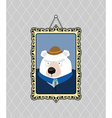 Portrait of a bear with a mustache wearing glasses vector image