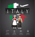 traveling to italy with map of infographic vector image