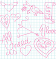 valentine day doodles vector image
