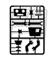 Robot parts cut out and assemble template for vector image