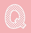 Q alphabet letter with white polka dots on pink vector image