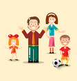 Happy family flat design man woman boy with vector image