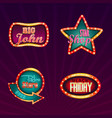 set of isolated illuminated signboards for shops vector image