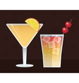 cocktail set trendy drinks dark background vector image