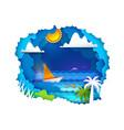 sailboat on tropical sea vector image