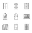 window icon set outline style vector image