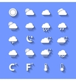 White Weather Icons With Shadows vector image