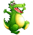 A playful green crocodile vector image