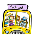 doodle school bus with kids vector image