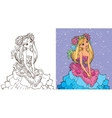 Colouring Book Of Girl In Flower Dress vector image